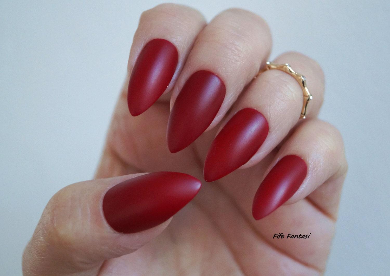 burgundy nails matte stiletto nails fake nail stiletto