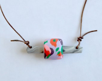 Margot ~ Polymer Clay Bead Necklace Marbled Black White Stack