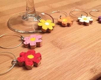 Hand-Painted Flower Wine Cork Charms, Wine Glass Charms, Wine Cork Charms, Colorful Wine Glass Charms, Wine Charms, Wine Lovers