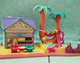 Vintage Bluebird toys Polly Pocket Beach Cafe and Palm trees complete rare variation set
