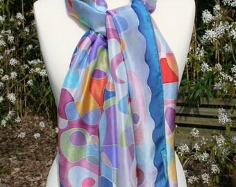Multicolored silk scarf, handpainted, 100% pongé. NEW PRICE.