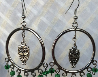 Green Chandelier Owl Earrings