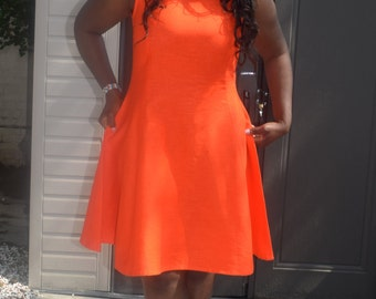 SALES, Flared Linen Dress, slimfit dress, plus size available, handmade dress, knee length, gift for her,orange/black, sizes 8-16