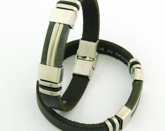 Handmade bracelet steel and Spanish leather 10 x 3 mm. 02 BLACK