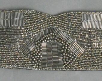 Silver beaded waist corset belt