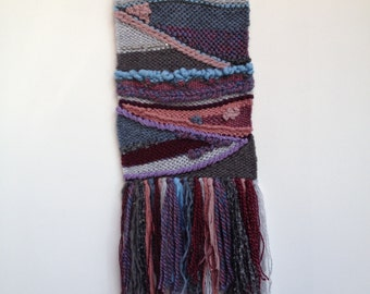 Hand woven, one of a kind, wall hanging - wine and grapes