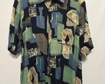 Vintage Navy/Green Print Shirt