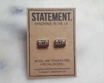 Mix Tape Old Fashioned 90s Cassette Stud Earrings - 1 pair