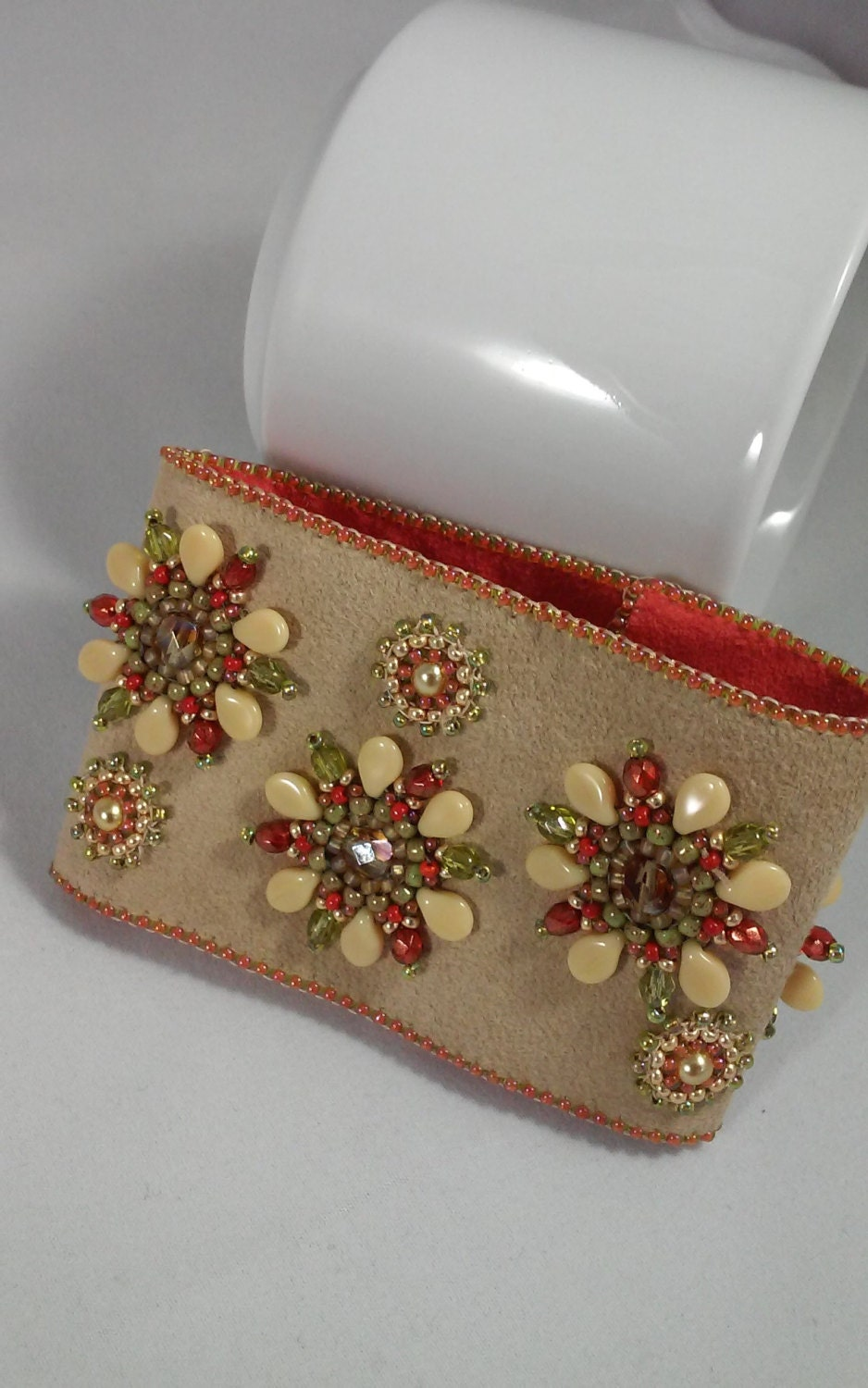 Seed bead embroidery cuff bracelet tan ultrasuede cream pip