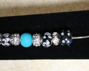 Unique blue and black bracelet