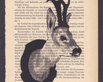 Handpainted Deer on book page