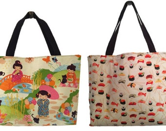 Geisha Girl / Sushi and Chopsticks Reversible Tote Bag and Zipper Pouch