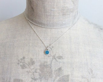 Blue Colour Dot Small Pendant Necklace | Minimalist, Everyday Jewellery