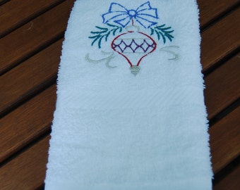 Silver Christmas Ornament Hand Towel