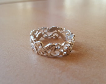 Silver ring, Sterling Silver Leaf and Vine Ring - 925, silver ring, hippie, leaf, vine