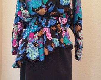 Vintage 1980's peplum dress