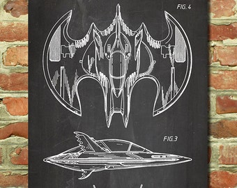 Batman Batwing, Batman Movie Poster, Batman Decor, Batman Wall Art, Batman Bedroom Decor, Batman Baby Nursery, Superhero Art, Patent P125