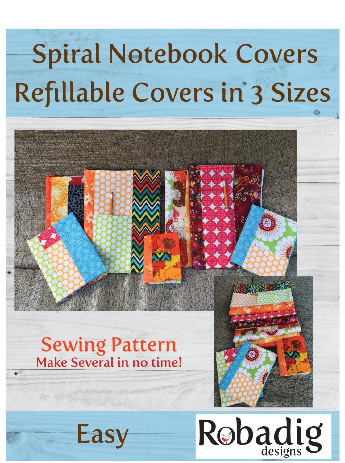 Notebook Cover Sewing Pattern ~ Notebook cover pdf pattern sewing sizes