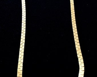 Vintage B.C. LIND 14K Gold Electro-plated Flat Textured Chain Necklace