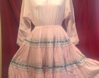 1950s Mexican Pink Dress / 50s Patio Squaw Pink Dress  / Cow Girl Dress.