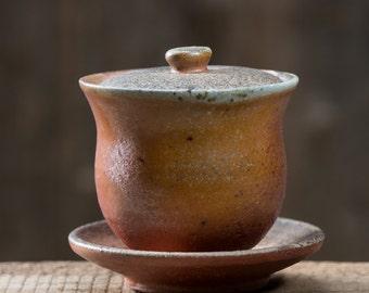 Lidded Bowl / Gaiwan - wood fired in an anagama kiln - TK-SL-33