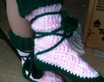 Custom Crochet Boot Slippers with Pompoms