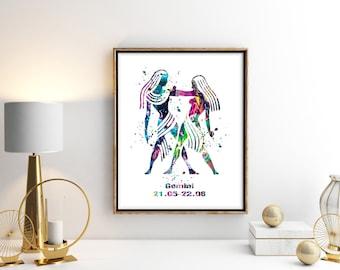 Gemini Watercolor Astrology Art, Gemini Print, Gemini Sign ,Gemini Zodiac, Gemini Wall Art, Gemini Poster, Gifts for Gemini , Archival Art