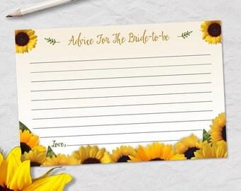 "Printable Rustic Sunflower Advice Card, Bridal Wedding Shower, 6""x4"", JPG Instant Download"