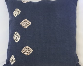 Hand Embroidered Throw Pillow in Linen.