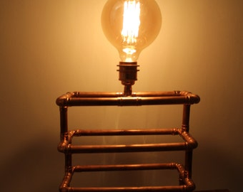 Handmade copper pipe table lamp with Edison bulb