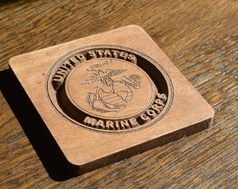 US Military Wooden Coasters - Set of 5