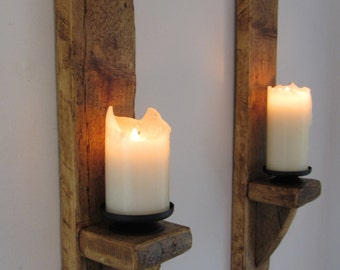Pair of large 60cm reclaimed plank wood wall sconce candle holders