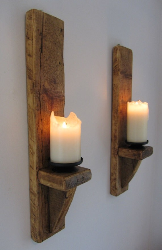 Pair of large 60cm reclaimed plank wood wall sconce candle