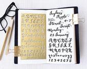 Planner Stencil, Bullet Journal Stencil, Script Alphabet Stencil, Script Letter Stencil - fits A5 journal & Midori Regular