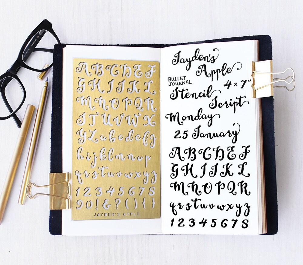 Planner stencil bullet journal script alphabet
