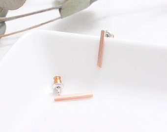 Brushed Texture Stick Stud Earrings