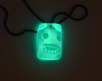 Handmade Glow in the Dark Jackolantern Pumpkin Necklace