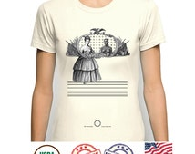 Lesbian Gay Tshirt, Vintage Fashion Collage Art, Afro-american nude Female Portrait, American flag monument, Secession Civil War Mockery art