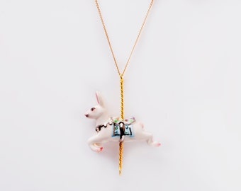 Merry Go Round Porcelain Rabbit Pendant and gold plated necklace/ Gold Rabbit Necklace/ Rabbit Necklace/ Rabbit Pendant Necklace