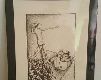 """22""""x 28"""" Foam-core Matted and Shrink Wrapped Drawing.  """"Falling"""""""