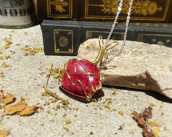 Pink Tumbled Agate Wrapped in Gold Wire