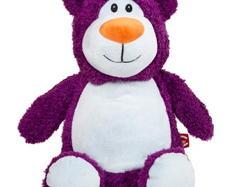 Purple Teddy Bear Cubbie embroidered with your special message - unique gift for babies or kids