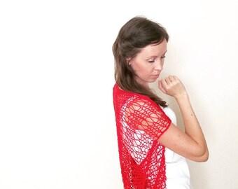 Knit Shrug / Red Shrug / Loose Knitting Shrug / Summer Shrug Bolero / Beach Dress Cover Up / Knit Sweater Cardigan Top / Ready To Ship