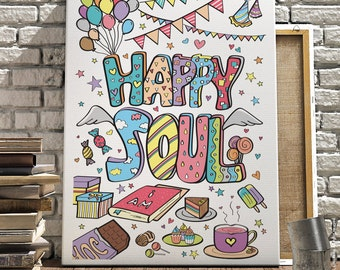 Happy Soul – Colourful, Printable Art, Wall Art, Party Decoration, Instant Download