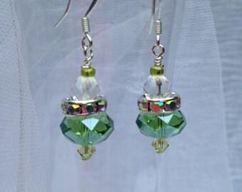 peridot green crystal princess earrings
