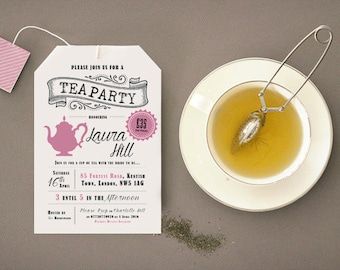 Tea Party Invites - Shape of a Tea Bag