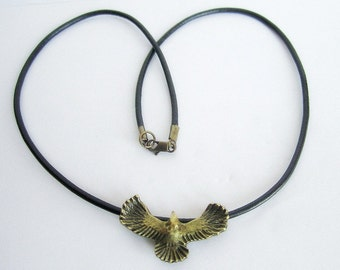 Mens eagle necklace, mens leather necklace, mens eagle choker, mens leather cord necklace with bronze eagle pendant, italian jewelry