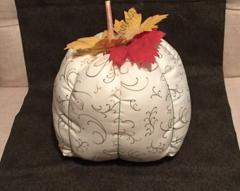 Large Pumpkin-ivory with green vines fabric, Ready to Ship