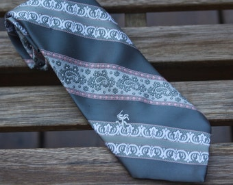 Vintage Bronzini  Necktie, Vintage Bronzini Tie, Vintage 70s Necktie, Mens Necktie, Gray Tie, Striped Tie, Bronzini Unicorn, Unicorn Necktie