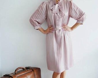 Vintage 80s Pink Lilac Dress - UK 14/16